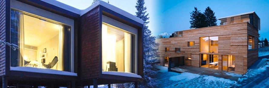 Vivivendas Passivhaus en zonas de montaña, donde puede nevar, y el clima es frío