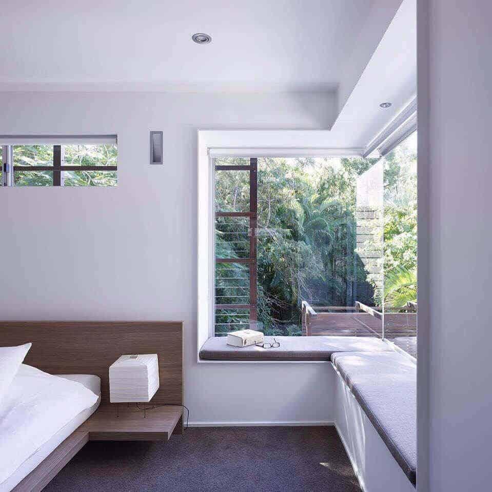 Belvedere con forma de L en un dormitorio